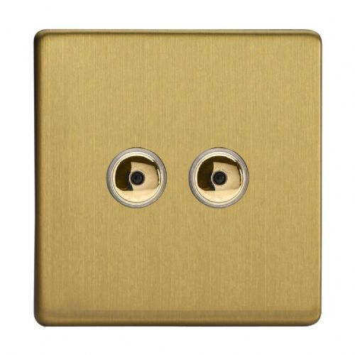 Varilight IJDBI102S Screwless Brushed Brass 2 Gang 1-Way Remote/Touch Master LED Dimmer 0-100W